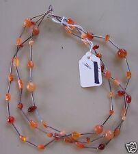Sterling Orange Agate Carnelian Nugget 3-strand Necklace 16 inch Choker silver