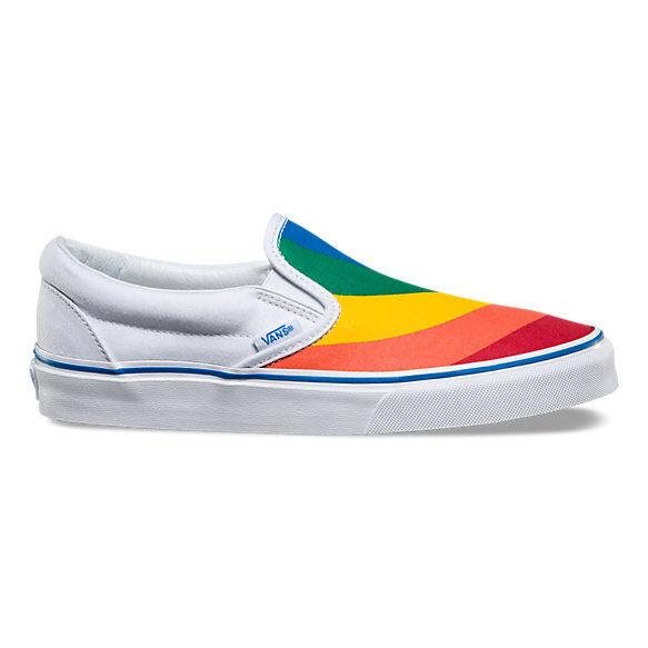33779d12f85a3f Vans Classic Slip On Rainbow White Men s 9 Women s 10.5 Skate Shoes New
