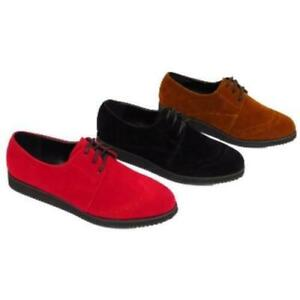 WOMENS TAN RED OR BLACK LACE-UP FLAT