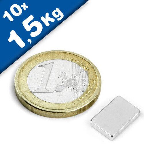 Magnetquader  12 x   7 x  2mm Neodym N44H 1,5 kg Nickel 10 x Quadermagnet