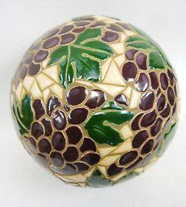 "Mosaic Sculpture Accent Ball Tile Art Ceramic Gazing Sphere GRAPE CLUSTERS  8.5"""