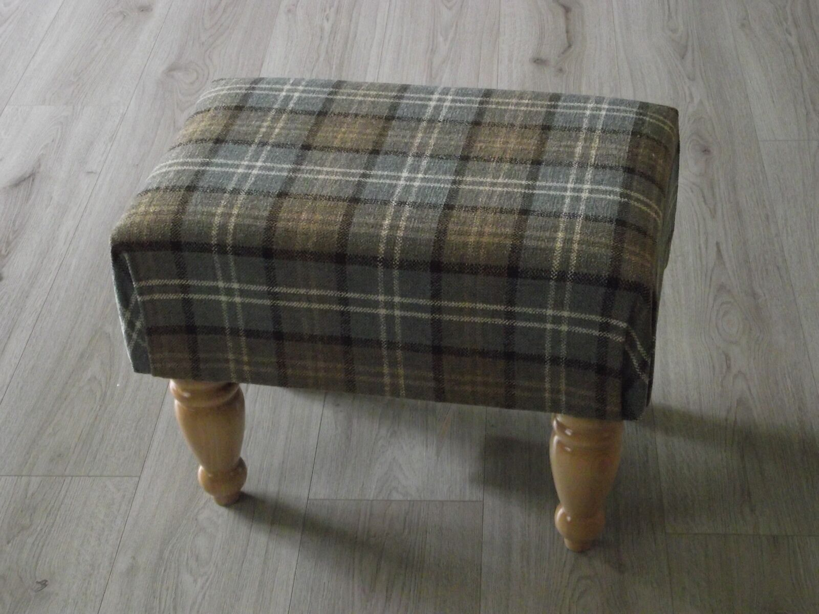 New Large Lana Tartan box style footstool light wood turned leg upholsterot top