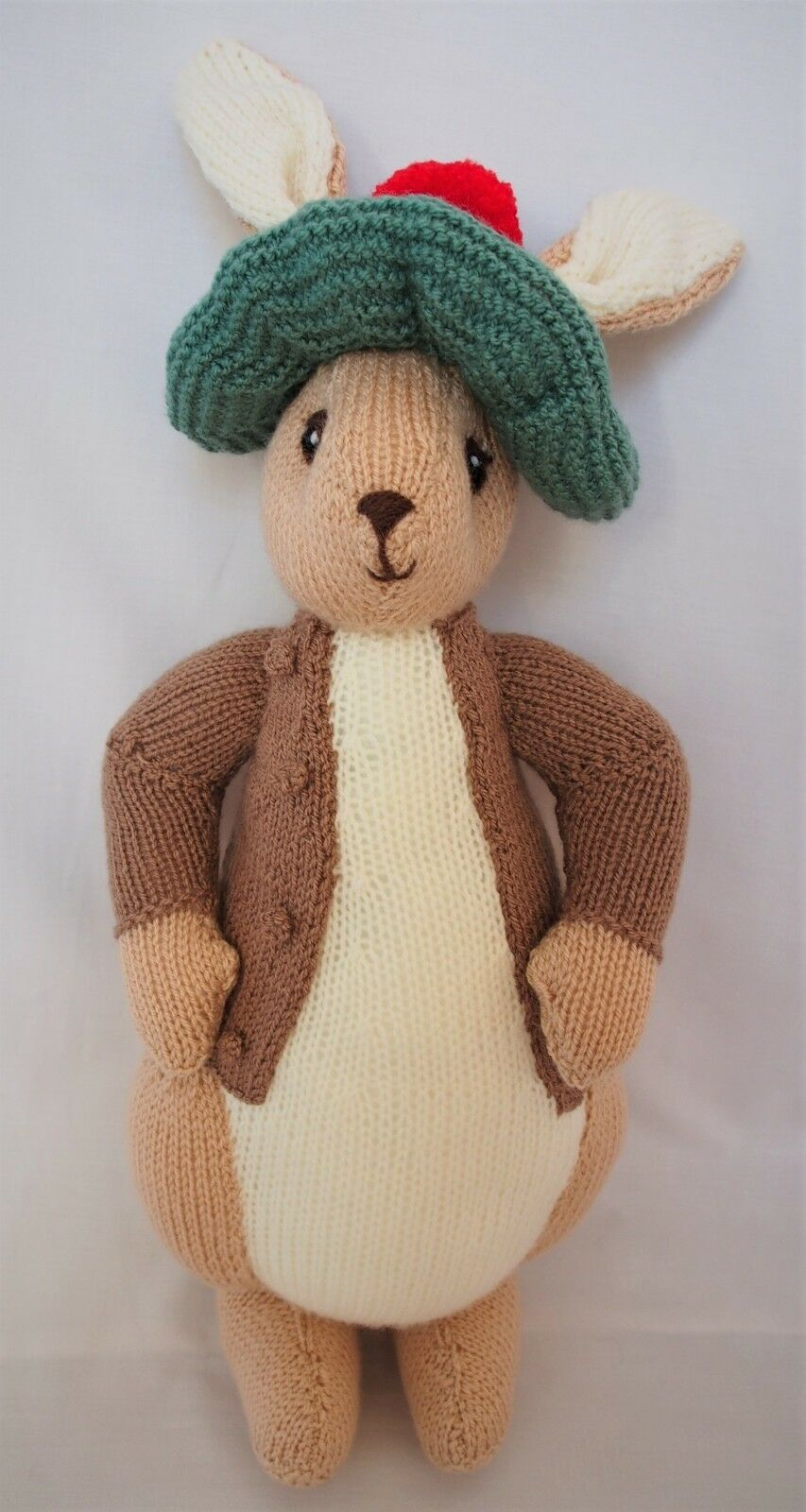 Hand knitted Beatrix Potters Benjamin Bunny soft toy