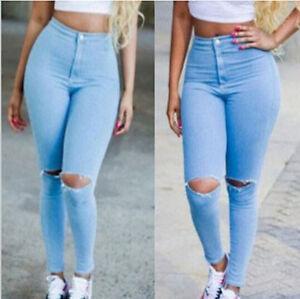 Chic Mujer Jeans Skinny Jeans Pantalones Cintura Alta Slim Roto Agujero Stretch Pantalones Ebay
