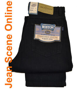 New-Men-039-s-Boston-Slim-Fit-Jeans-Tapered-Narrow-Leg-Tight-Skinny-Denim-Black