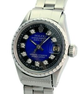 Rolex-Ladies-Datejust-6517-26mm-SS-Blue-Vignette-Diamond-Dial-26mm-Watch