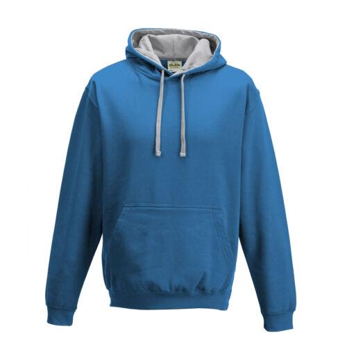 Mens Hooded Sweatshirt Varsity Contrast Hoodie Pullover Hoody 30 Colours XS-5XL