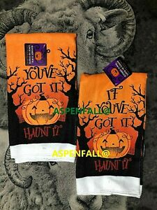 Creepy-Halloween-HAUNT-IT-PUMPKIN-Decor-Kitchen-Towels-Set-of-2