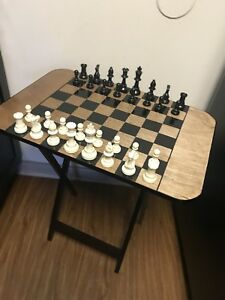 Image Is Loading Folding Chess Table Snack Table Handpainted With Chess