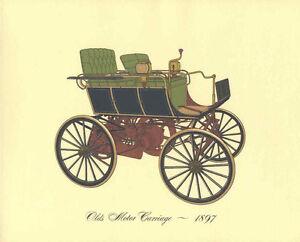 Antique-Print-Car-1897-Olds-Motor-Carriage-Lithograph-Vintage-Automobile