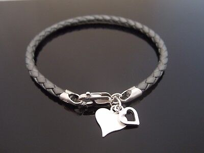 3mm Black /& Grey Braided Leather Bracelet With 925 Sterling Silver Bee Charm