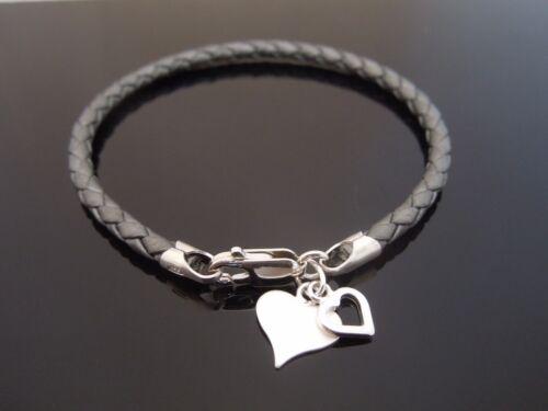 "3mm Grey Braided Leather Bracelet /& 925 Sterling Silver Heart Charm 7/"" 8/"" 9/"" etc"