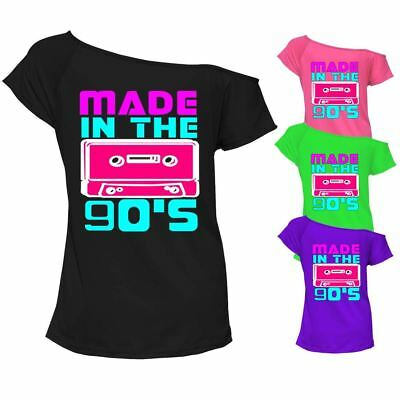 Entusiasta Donna Made In The 90s T-shirt Girocollo Off Spalla Retrò Gallina Vestito 6942lot-mostra Il Titolo Originale Una Grande Varietà Di Merci