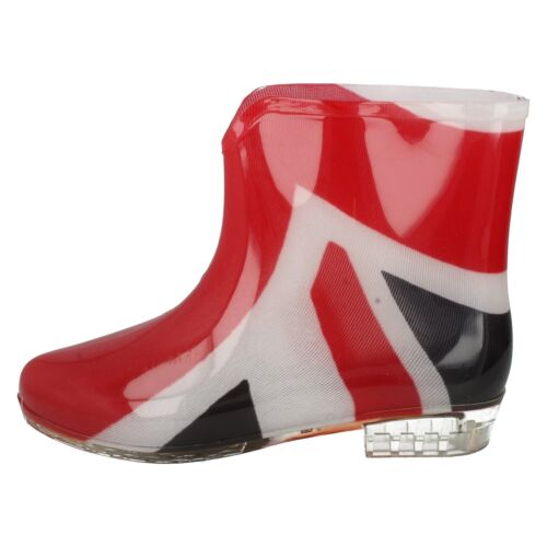 LADIES RAIN WATERPROOF UNION FLAG PRINT ANKLE WELLIES WELLINGTON BOOTS X1195