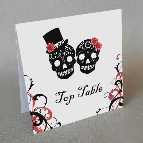 Sugar Skull Table Numbers Names Day of the Dead Wedding Tattoo Candy Black Red
