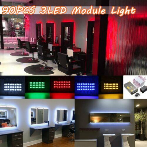 Power 45FT 90Pc 3-LED Module Strip Light Store Window Fornt Decor Lamp Remote