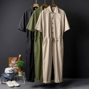 Men Cargo Jumpsuits Pants Overalls Trousers Playsuits Straight Loose Casual UK
