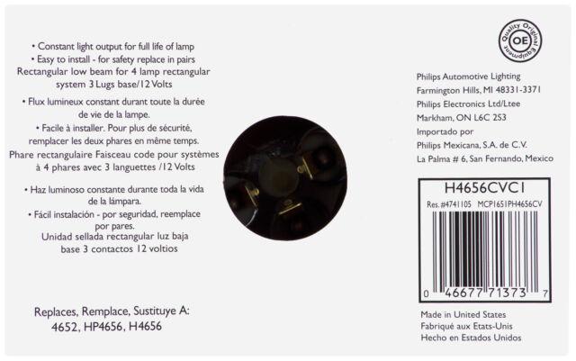 Headlight Bulb-Base Philips H4656CVC1