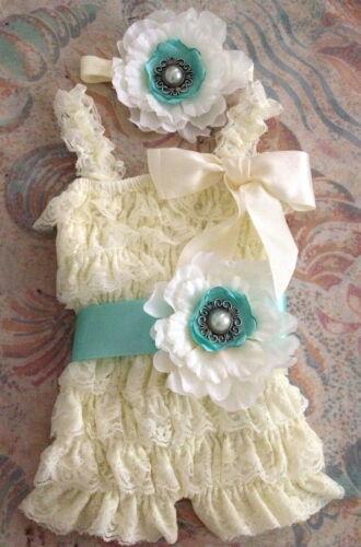Vintage Girl Posh Petti Ruffle Romper headband belt ivory lemon colorful romper