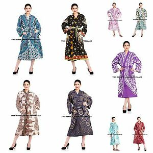 Womens Long Kimono Dressing Gown Bath Robe Indian Dress Lingerie Nightdress New