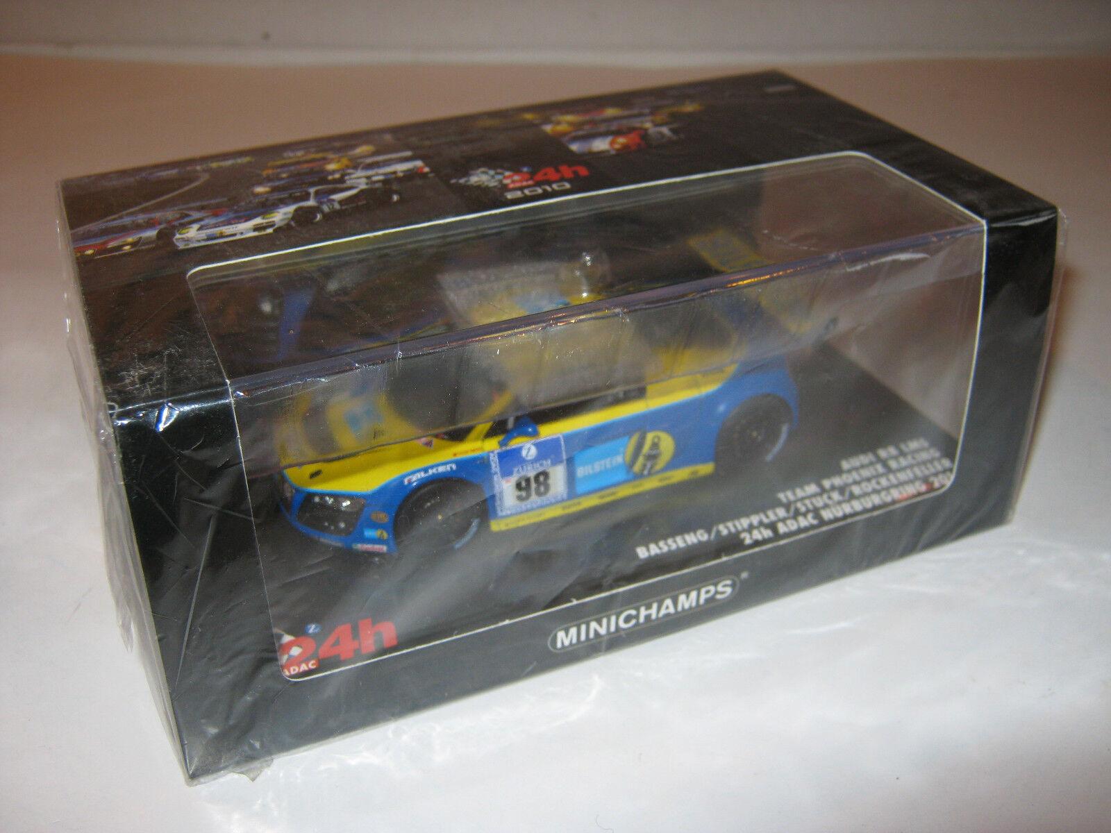 1 43 Audi r8 LMS BASSENG stuc 2010 24 Hr. nrbg. le MINICHAMPS 437101998 neuf dans sa boîte New