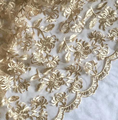 """3 MTR oro Bordada Doble Tela De Encaje Festoneado de Novia vestido de red de Tul ancho 52/"""""""