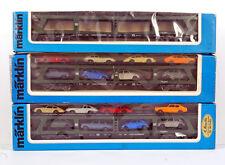 MARKLIN 4074 4074 4084 HO H0 THREE Autotransportwagen , two with Wiking models