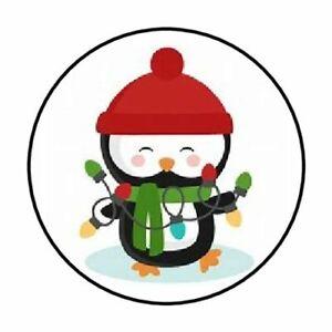 48-CHRISTMAS-PENGUIN-LIGHTS-ENVELOPE-SEALS-LABELS-STICKERS-1-2-034-ROUND