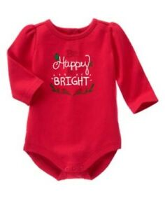GYMBOREE-COZY-CABIN-RED-w-Be-Happy-amp-Bright-BODYSUIT-0-3-6-NWT