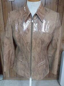 Style Kuzu Snakeskin Kuzu Vestes Bronze en Leather serpent Size cuir de peau taille femme style pour légère bronze Women's Jackets Light 5qqH7Ow