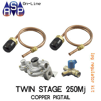 LPG 2 STAGE REGULATOR KIT 2x500mm POL COPPER PIGTAIL w/TAP - CARAVAN/HOME