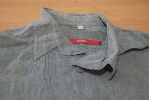 Q393-Signum-Hemd-Groesse-M-strukturiert-gruen-blau-gelb-Herren-Herrenhemd-Langarm