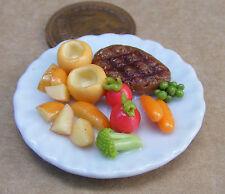 1:12 grandi ARROSTO CARNE & Yorkshire su un 3,5 cm piatto in ceramica DOLLS HOUSE miniatura