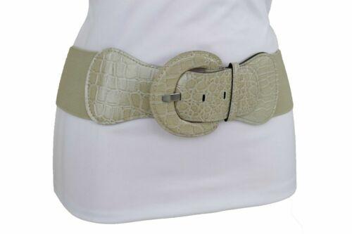 Women Wide Elastic Faux Leather Corset Light Beige Nude Belt Hip Waist XS S M