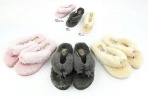 8a71483a2d4 UGG Soft Fluff Flip Flops Slide Slippers Women's Shoes w Bow Grey ...