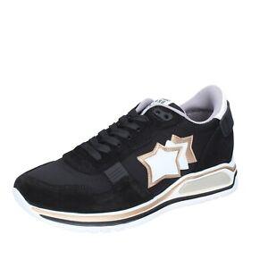 scarpe uomo ATLANTIC STARS sneakers nero tessuto camoscio BJ488