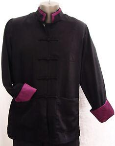 Men-039-s-Rayon-Silk-Mandarin-Collar-Jacket-w-Contrast-Color-Trim-on-Collar-amp-Cuffs