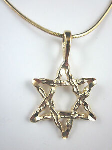 """Gold Plated Large Star of David Diamond Cut Pendant 24"""" Square Snake Chain 1.6mm"""