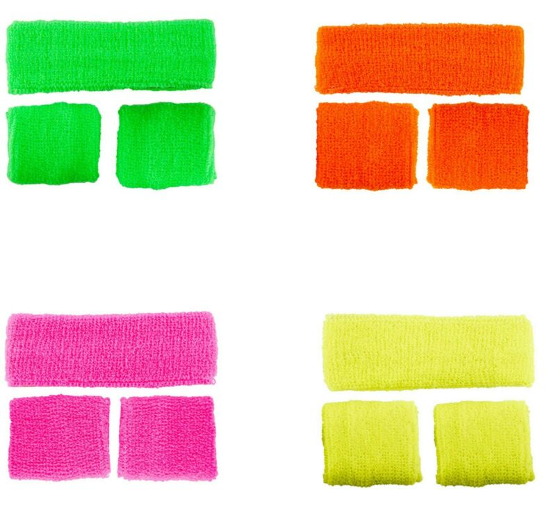 80s 1980s Sweatbands Set Headband Wristbands Fancy Dress Costume Neon Party Rave