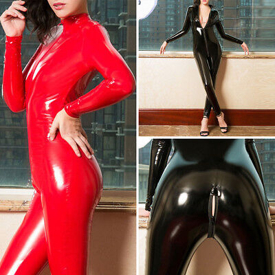 Womens Striped 2 Way Zipper Catsuit Sheer Bodysuit Long Sleeve Jumpsuit Clubwear