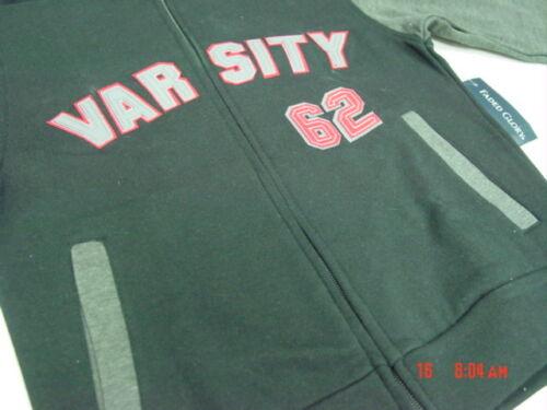 NWT Boys Zippered Hooded Hoodie Sweatshirt Black Varsity Fleece Lined Style warm