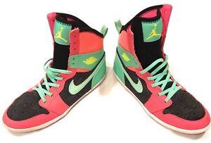 Air-Jordan-Nike-1-Skinny-Atomic-Red-Volt-Black-Green-US-7Y-Youth-602656-633