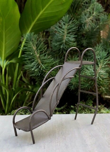 Miniature Dollhouse FAIRY GARDEN ~ Rustic Metal Vintage-Style Playground Slide