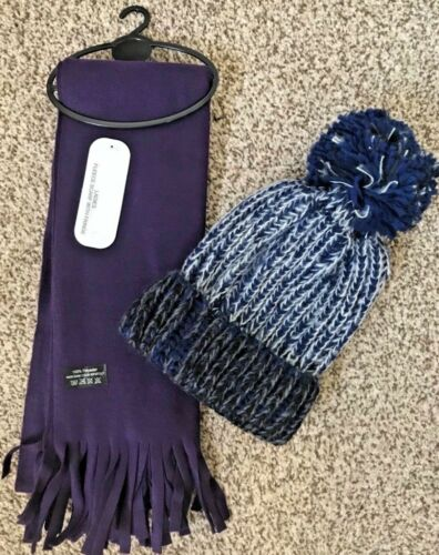 LADIES 2-PIECE PURPLE MULI-COLOUR CHUNKY KNIT BOBBLE HAT AND FRINGED SCARF SET