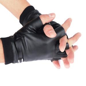 Men-039-s-Leather-Half-finger-Gloves-Warm-Cycling-Plus-Velvet-Outdoor-Sports-Gloves