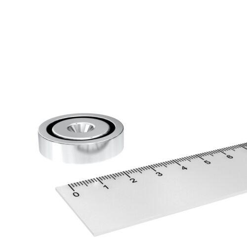 N35 INDUSTRIE 50x NEODYM TOPF MAGNET MIT 5.5 mm BOHRUNG UND SENKUNG 32x8 mm
