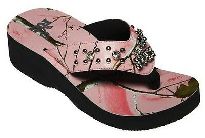 ce5c8a6b45e8a6 NEW WOMENS REALTREE GIRL RACHAEL 10-10.5 PINK CAMO BLING FLIP-FLOPS SHOES  SANDAL