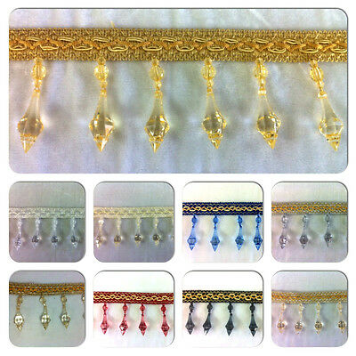 Curtain Beaded Tassels Droplet Trimming, 8 Colours Avalible