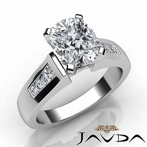 9d7de462130148 Cushion Cut Channel Set Diamond Engagement Ring GIA I SI1 14k White ...