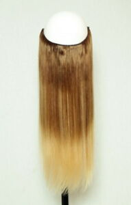 """Fits like a halo Hair Extension- Human Flip On crown wire 20""""- #T6/24 Ombre"""